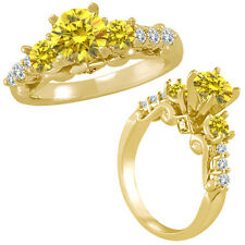1.75 Ct Yellow Diamond 3 Stone Eternity Engagement Wedding Ring 14K Yellow Gold