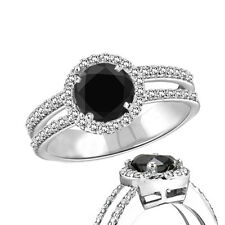 2.50 Carat Natural Black Diamond Halo Solitaire Engagement Ring 14K White Gold