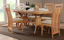 Townhouse & Bali Extending Oak Dining Table and 4 6 Chairs Set (Ivory)