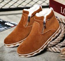 Mens winter fur lined zip up snow warm thick casual shoes ankle boots