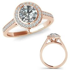 1.25 Carat G-H Diamond Fancy Halo Channel Anniversary Band Ring 14K Rose Gold