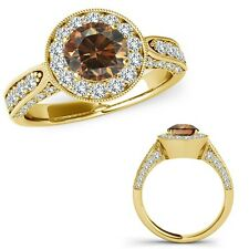 1.75 Ct Champagne Diamond Lovely Basket Design Halo Promise Ring 14K Yellow Gold