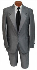 Mens Size 40R Grey Raffinati 1 Button Notch Lapel Wedding Tuxedo Jacket & Pants