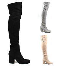 Ladies Long Chunky Heel Tall Slouch Sock Fit Trendy Fitted Thigh Boots All Sizes