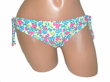 Hurley JR M 6 8 SWIMSUIT BIKINI BOTTOM WHITE PINK FLORAL HIPSTER SIDE TIES 2522