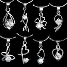 18K White Gold Filled Crystal Birthstone Heart Necklace Pendant Wedding Gifts