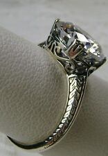 3ct White Gem Sterling Silver 1930's Art Deco Design Filigree Ring Size: Any/MTO