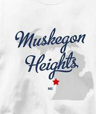 Muskegon Heights, Michigan MI MAP Souvenir T Shirt All Sizes & Colors