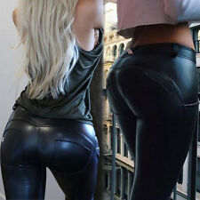 Sexy Fashion Women Stretch Leather Panel Slim Leggings Tight Pants Trousers S-XL