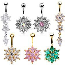 Exquisite Rhinestone Crystal Navel Ring Barbell Ball Button Belly Chic Jewelry