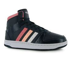 Adidas Neo Hoops Mid Top Leather Trainers Womens Navy/Pink/White Sneakers Shoes