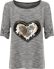 Womens Plus Knitted Heart Sequin Top Ladies Hi Lo Dip Hem Turn Up Short Sleeve