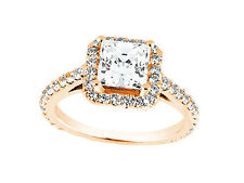 1.00Ct Princess Round Cut Diamond Cathedral Halo Engagement Ring 14k Gold I SI2