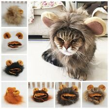 1x Cute Pet Hat Cat Dog Costume Lion Faux Fur Wig Halloween Dress Up With Ears