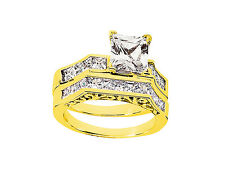 Genuine 2.00Ct Round Princess Diamond Engagement Ring Set Solid 18k Gold G SI1