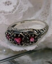*Red Ruby* Solid Sterling Silver Filigree Edwardian Dainty Ring {Made To Order}