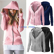 Womens Plain Hoodie Fleece Sweatshirt Ladies Hooded Coat Hoodys Zip Jacket Tops