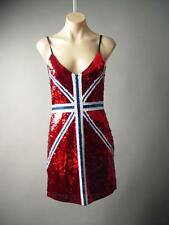 Red British Union Jack Sequin UK Flag Glam Rock&Roll Party Punk 154 mv Dress S/M