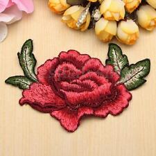 1-5PCS Red Rose Flower Motif Collar Iron Sew on Patch Applique Embroidered Badge