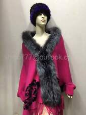 Cashmere Shawl Cape Wrap Scarf cloak Fox Fur Trim Collar Fur Coats Bride shawl