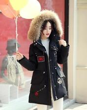 New Women's Trench Real Luxury Fur Collar Winter  Down Jackets Parka Coat 3Color