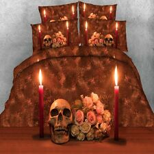 Skull Duvet Quilt Doona Cover Set Single/Queen/King Size Floral Bed Covers New