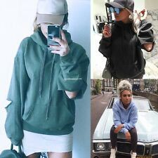 Women Casual Hoodies Sweatshirt Hole Long Sleeve Solid Cotton Blend Pullover