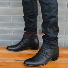 Mens dress Casual ankle Boots chunky heel zipper pointy toe cowboy boots new