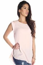 DEALZONE Gorgeous Sequence Accent Top S Small Women Pink Casual Short Sleeve USA
