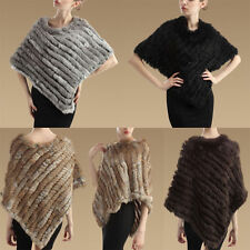 Womens Rabbit Fur Wrap Shawl Scarf Cape Poncho Cloak Scarf Outwear Coat Vest