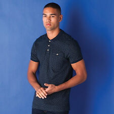 Mens D-Struct Tolken Jacquard Polo Shirt In Navy-Classic Collar-Tipped