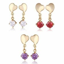 Fashion Heart Round Crystal Stud Earrings Dangle Earings Yellow Gold Filled