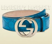 GUCCI teal blue GUCCISSIMA leather gold Interlocking G buckle belt NWT Authentic