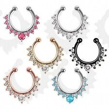 6color Fake Cheater Clip On Nose Ring Hoop With Clear CZ Gem Fashion New Trendy