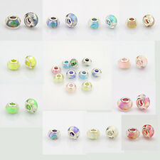 10pcs Large Hole Rondelle Resin European Charm Spacer Beads Silver Lined 14x9mm