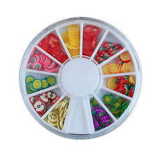 Unique Mix Fimo Nail Art Nail Tips Polymer Clay Slices Decor Wheel EF