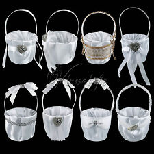 Wedding Party Favors White Satin Flower Girl Basket for Bridal Decorations Gifts