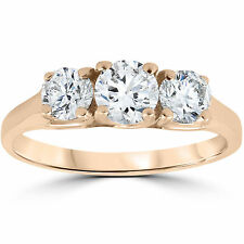 14k Rose Gold 1ct Three Stone Diamond Anniversary Engagement Ring