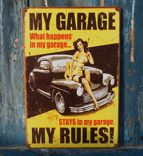 MY GARAGE MY RULES Rusted Metal Tin Sign Garage Wall Decor Man Cave