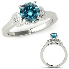 1 Carat Blue Diamond Solitaire Engagement Promise Ring Band Set 14K White Gold