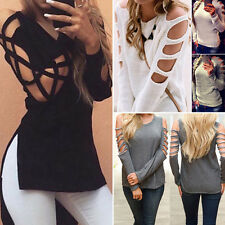Womens Cold Off Shoulder Loose Tops Long Sleeve Blouse Lady Casual Tops Sweaters