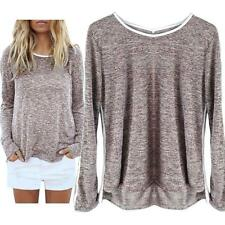 Lady Womens Loose Long Sleeve Casual Blouse Shirt Tops Blouse Clothes S/M/L/XL