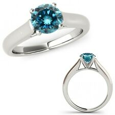 2 Ct Blue Diamond Solitaire Engagement Anniversary Bridal Ring 14K White Gold