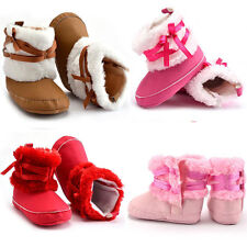 New Warm Baby Shoes Boy Crib Girl Bowtie Fur Toddler Snow Winter Infant Boots