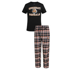 Cincinnati Bengals Men's Tiebreaker Pajamas NFL Sleep Set Shirt Plaid Pants