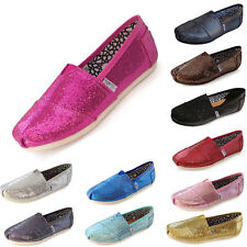 New Women Sequin Shoes Slip-on Casual Flats Solid Canvas Leisure Loafer Shoes