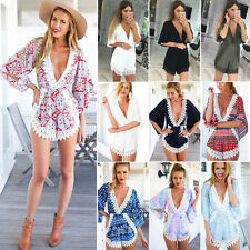 Womens V Neck Playsuit Bodycon Jumpsuit Romper Sexy Beach Shorts Party Clubwear