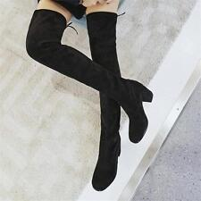 Womens Round Toe Slim Leg Suede Leather Over Knee High Boots Sexy Booties US SZ