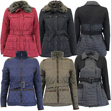 Ladies Jacket Brave Soul Womens Coat Wool Mix Padded Cord Faux Fur Belt Winter