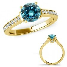 1.25 Ct Blue Diamond V Prong Solitaire Ring Eternity Band Set 14K Yellow Gold